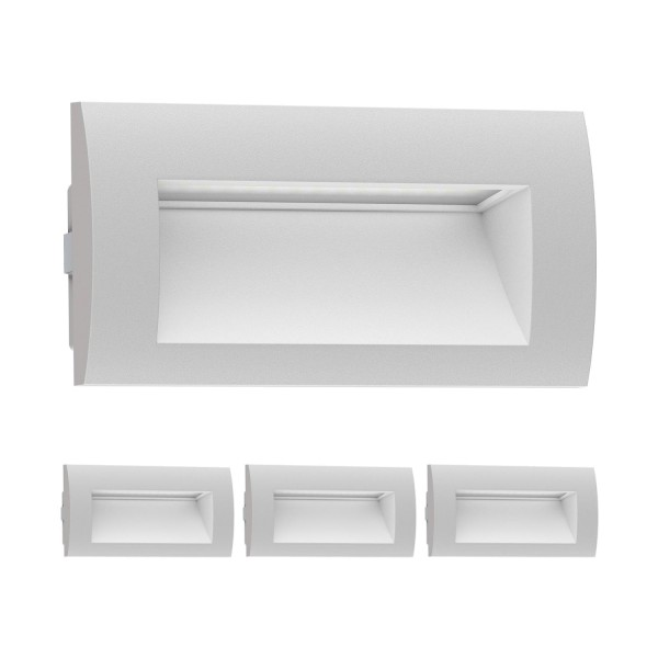 LED Wandleuchte Zibal, Outdoor, warm-weiß, 140x70mm, 4 Stk.